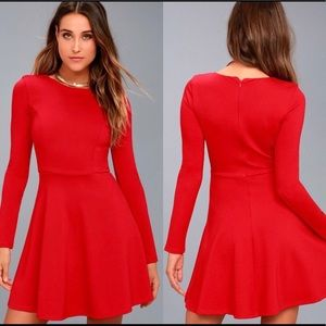 Lulus Red Forever Chic Long Sleeve Skater Dress M